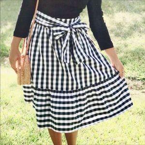 J. Crew Factory gingham plaid modest a-line skirt